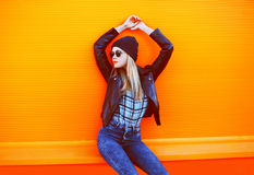 Street fashion concept - stylish cool girl in rock black style Stock Photos