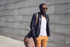 Street fashion concept - stylish handsome african man Stock Image