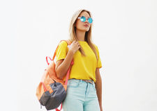 Street fashion concept - stylish hipster girl in sunglasses Royalty Free Stock Images