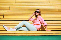 Street fashion concept, stylish modern woman in sunglasses Royalty Free Stock Photo