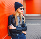 Street fashion concept - stylish woman in rock black style Royalty Free Stock Photos