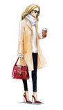 Street Fashion. Fashion Illustration Of A Blond Girl In A Coat. Autumn Look. Watercolor Painting. Royalty Free Stock Image