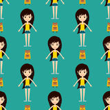 Street fashion girls models wear seamless pattern style fashionable stylish woman characters clothes looks vector Royalty Free Stock Photos