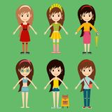 Street fashion girls models wear style fashionable stylish woman characters clothes looks vector illustration Stock Images