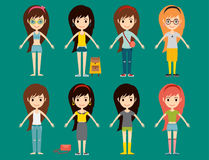 Street fashion girls models wear style fashionable stylish woman characters clothes looks vector illustration Stock Photography