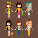 Street fashion girls models wear style fashionable stylish woman characters clothes looks vector illustration Royalty Free Stock Photo