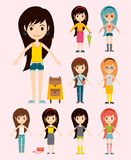 Street fashion girls models wear style fashionable stylish woman characters clothes looks vector illustration Royalty Free Stock Photography