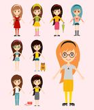 Street fashion girls models wear style fashionable stylish woman characters clothes looks vector illustration Royalty Free Stock Images