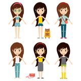 Street fashion girls models wear style fashionable stylish woman characters clothes looks vector illustration Stock Photo