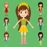 Street fashion girls models wear style fashionable stylish woman characters  Stock Photos