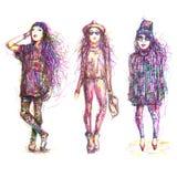 Street fashion illustration royalty free stock images