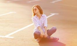 Street fashion lifestyle portrait beautiful woman Stock Photography