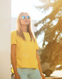 Street fashion and people - concept, stylish pretty woman Stock Photos