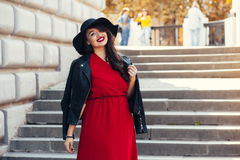 Street fashion, plus size model Stock Photo