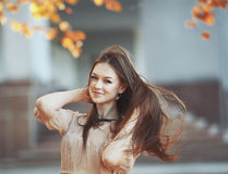 Street fashion portrait of young lady. Royalty Free Stock Photography