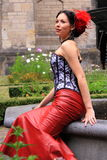 Streetstyle fashion red leather skirt royalty free stock photos