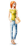 Street fashion. Summer look. watercolor painting Royalty Free Stock Photo