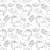 Street Fashion Summer Seamless Pattern in Black and White Royalty Free Stock Images
