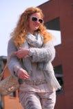 Street fashion woman stock photo