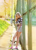 Street fashion young girl posing in summer Royalty Free Stock Photo