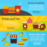 Street fast food banner horizontal set, flat style. Street fast food banner horizontal concept set. Flat illustration of 3 street fast food vector banner Royalty Free Stock Photo
