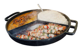 Street fast food -  boiled rice,  beef meat  with chili pepper Royalty Free Stock Photography