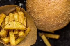 Street fast food burger and fries. View from above Stock Photo