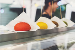 Street fast food, colored burger buns row on counter Stock Image