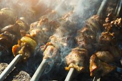 Street Fast Food Festival, Beef And Chicken Kebab At Grill Royalty Free Stock Image