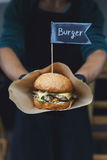 Street fast food, hamburger with bbq grilled steak Royalty Free Stock Photography