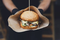 Street fast food, hamburger with bbq grilled steak Stock Photography