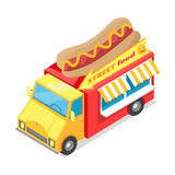 Street Fast Food Isometric Vector Illustration. Street food. Eatery on wheels with hotdog on roof isometric vector illustration isolated on white background vector illustration