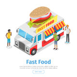 Street Fast Food Isometric Vector Web Banner. Fast food web banner. Eatery on wheels with hamburger on roof surrounded clients isometric vector on white vector illustration