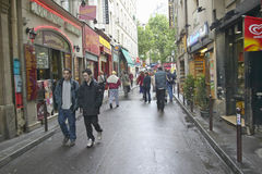 Street with fast food or take out restaurants, Paris, France Stock Photography