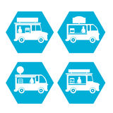 Street Fast food truck icon set. Mobile food store Royalty Free Stock Photo