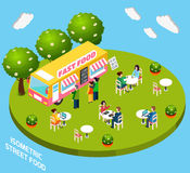 Street Fast Food Truck Isometric Banner Royalty Free Stock Photos