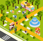 Street Fast Food Truck Isometric Banner Royalty Free Stock Photography