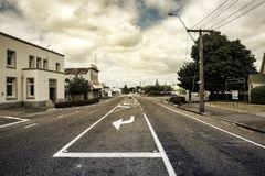 Street in Featherston, Wairarapa, New Zealand. This is the main street of Featherston in the Wairarapa, New Zealand. It`s a small town over the Rimuataka Hill royalty free stock photos
