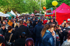 Street festival in Berlin-Kreuzberg, Germany. Berlin, Germany - May 15, 2016: unidentified people at street festival in Berlin-Kreuzberg, together with the stock photos