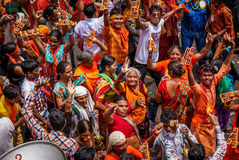Street Festival. Hindu devotees dancing in annual chariot festival called RathYatra celebrated in India stock photography