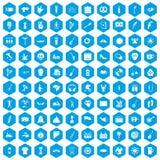100 street festival icons set blue. 100 street festival icons set in blue hexagon isolated vector illustration vector illustration