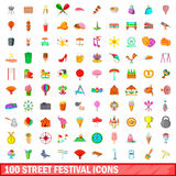 100 street festival icons set, cartoon style. 100 street festival icons set in cartoon style for any design vector illustration Stock Illustration
