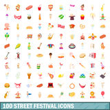 100 street festival icons set, cartoon style. 100 street festival icons set in cartoon style for any design vector illustration royalty free illustration