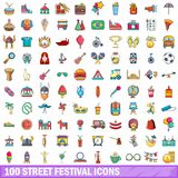 100 street festival icons set, cartoon style. 100 street festival icons set. Cartoon illustration of 100 street festival vector icons isolated on white Stock Images