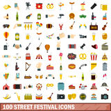 100 street festival icons set, flat style Stock Photo