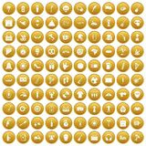 100 street festival icons set gold Stock Image