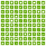 100 street festival icons set grunge green Stock Photography