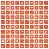 100 street festival icons set grunge orange. 100 street festival icons set in grunge style orange color isolated on white background vector illustration Stock Image
