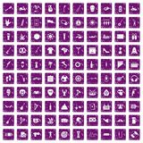 100 street festival icons set grunge purple. 100 street festival icons set in grunge style purple color isolated on white background vector illustration vector illustration
