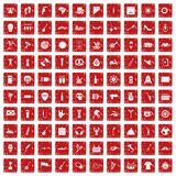 100 street festival icons set grunge red Royalty Free Stock Photos